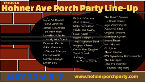 Hohner Ave. Porch Party 2014 lineup