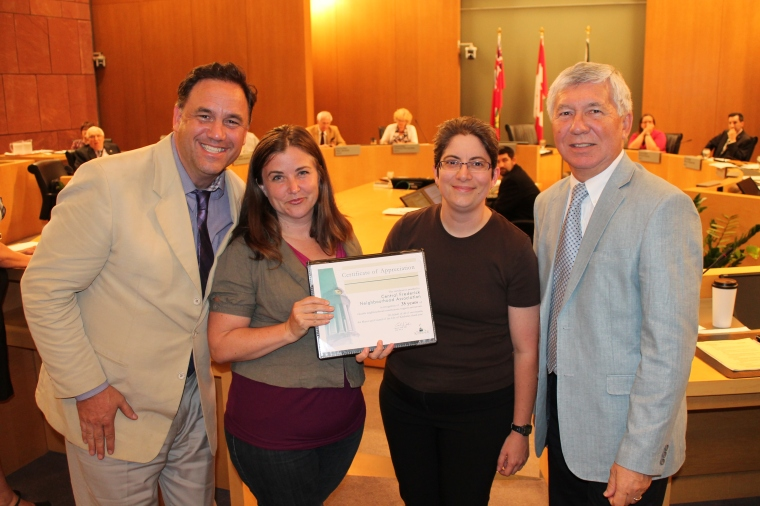 L to R: Councillor Dan Glenn-Graham, Chair Laura McBride, Nadia Ursacki & Mayor Carl Zehr