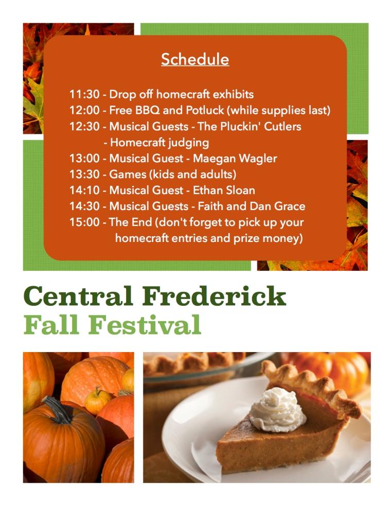 2014 Fall Festival schedule